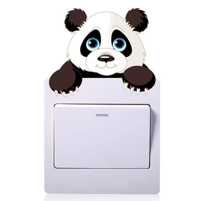 Adorable Panda interruptor pegatinas puntos de venta decoración de sala de estar dibujos animados mural de animales calcomanías artística para el hogar carteles niños regalo