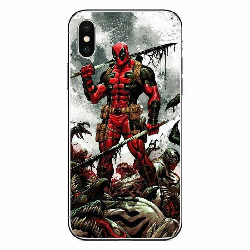 أعجوبة الهزلي Deadpool سبايدرمان الفيلم غطاء سيليكون الهاتف حقيبة لهاتف أي فون X XR XS ماكس 6 6s 7 8 زائد 5 5s SE كوكه متجمد فوندا