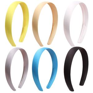 Image 5 - 33pcs 1.5cm 2cm Satin Headbands Colored Adult Kids Ribbon Hairband Women Covered Hair Band Multicolor Girl Headwear Accessories