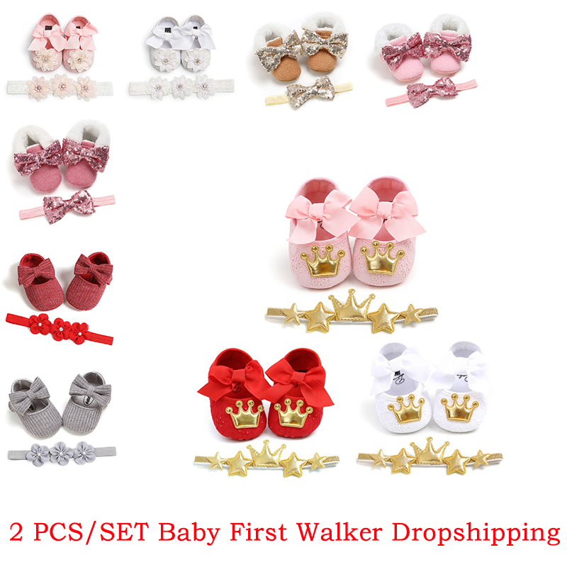 Spring Autumn Infant Baby Girls Shoes Cotton Fabric Sweet Lace Flower Ribbon Pearl Bowknot Princess Shoes+Floral Headband