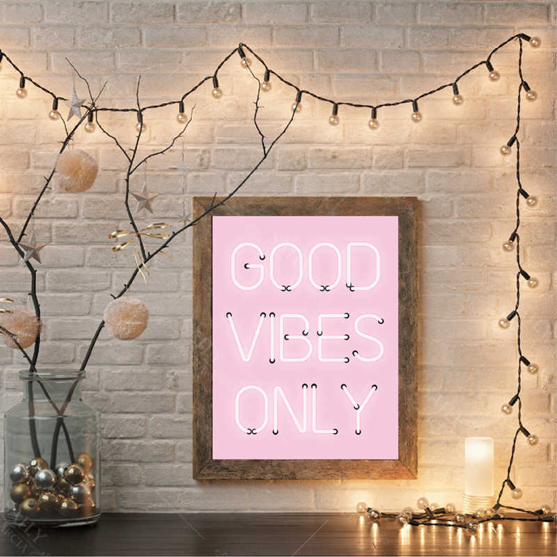 Good Vibes Only Quote Print Neon Lights Sign Inspirational Poster Pink Positive Quotes Wall Art Canvas Painting Home Room Decor