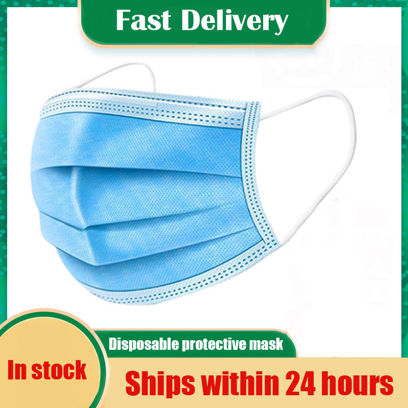 50 PCS Face Mouth Protective Mask Disposable Protect 3 Layers Filter Dustproof Earloop Non Woven Mouth Masks 24 Hours Shipping