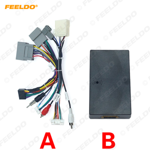 FEELDO Car Audio Radio CD Player 16PIN Android Power Calbe Adapter With Canbus Box For Honda Civic CRV Media Wiring Harness(China)