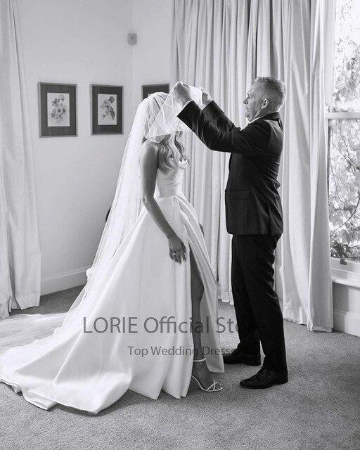 LORIE Satin Wedding Dresses Strapless A-Line Bridal Gowns Princess Custom Made High Split Wedding Gown vestido de noiva 2021 5