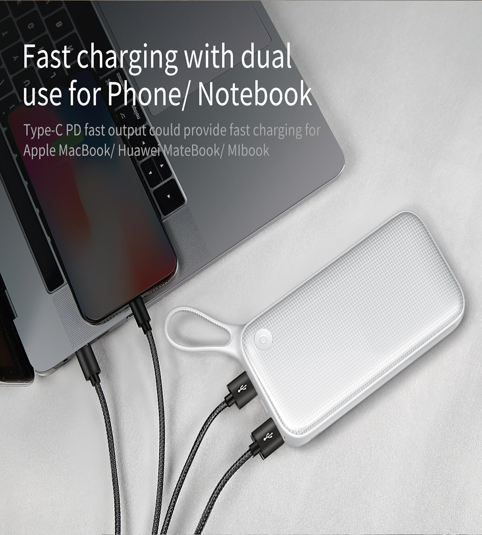 Baseus 20000mAh Quick Charge 3.0 Power Bank For Xiaomi Mi 000 mAh USB C PD Fast Portable External Battery Charger Powerbank 3