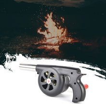 Outdoor Hand-Cranked Combustion Blower Manual Barbecue Picnic Camping Fire Tool Hairdryer Large Black