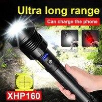 500000 Glare Super XHP160 Krachtige Led Zaklamp Zaklamp XHP90 High Power Usb Oplaadbare Tactische Flash Light 18650 Led Lantaarn