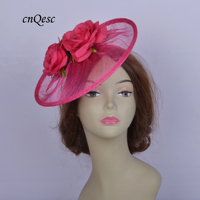 NEW hot pink Sinamay fascinator hat disc saucer hatinator w/ rose flower for kentucky derby,ascot races,melbourne cup,tea party