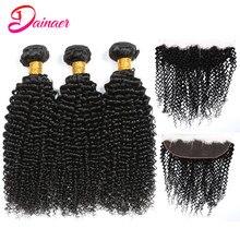 Brasileiro afro kinky cabelo encaracolado pacotes com 13x4 rendas frontal orelha a orelha pacotes de cabelo humano com fechamento frontal dainaer cabelo