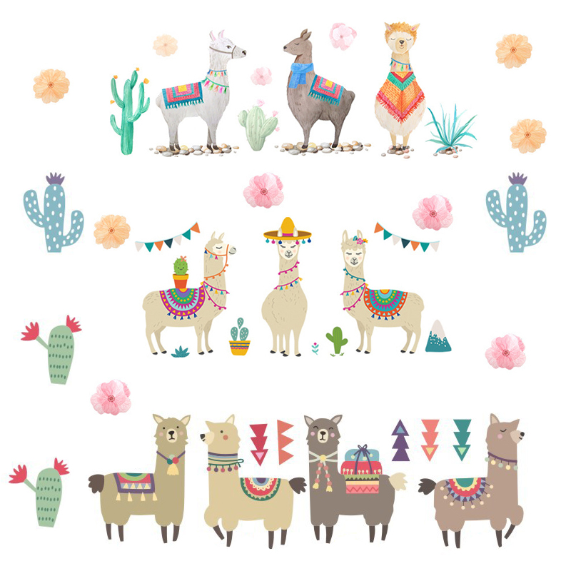Cartoon Llama Animals Indian Style Alpacas Wall Stickers for kids room wall decals pvc wall sticker removable wall stickers(China)