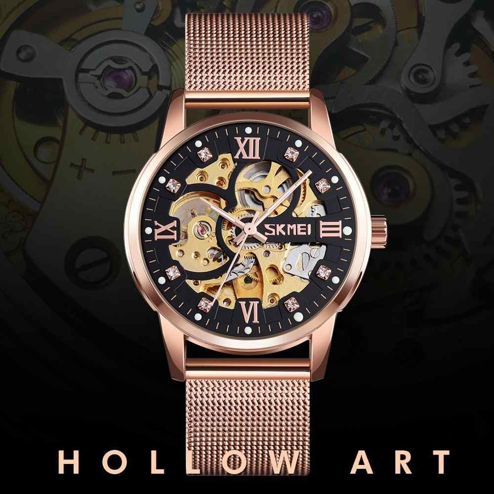 SKMEI marque automatique montre mécanique hommes de luxe Quartz montres conception creuse étanche sport or Erkek Kol Saati