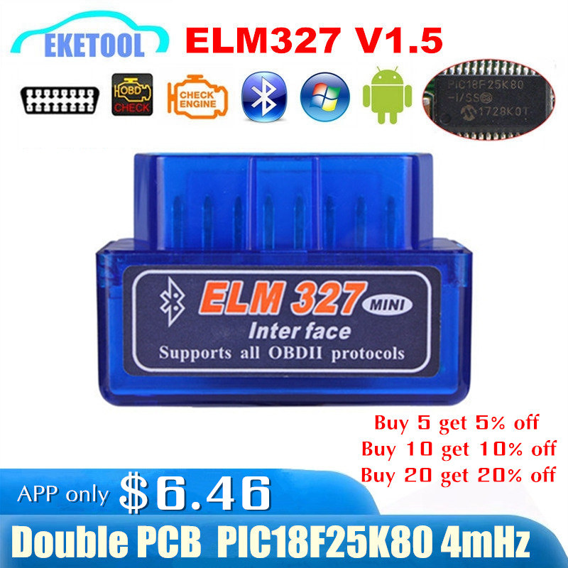 Hardware V1.5 Chip PIC18F25K80 ELM327 Bluetooth V1.5 Auto Code Reader Super MINI ELM 327 Works ON Android Symbian FW V1.5 BEST