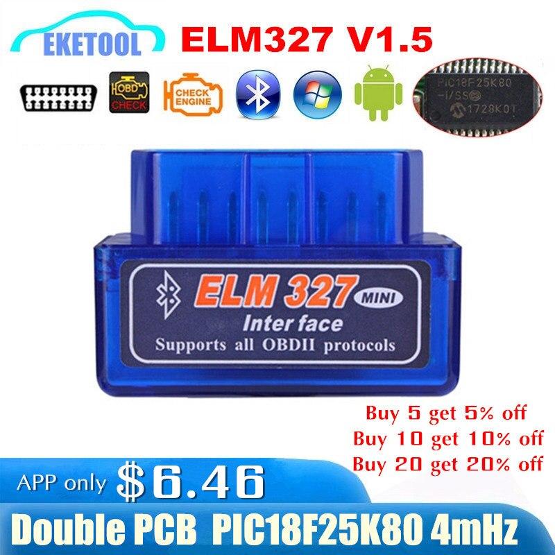 Microplaqueta pic18f25k80 elm327 bluetooth v1.5 da ferragem v1.5 leitor de código automático super mini elm 327 funciona no symbian android fw v1.5 melhor