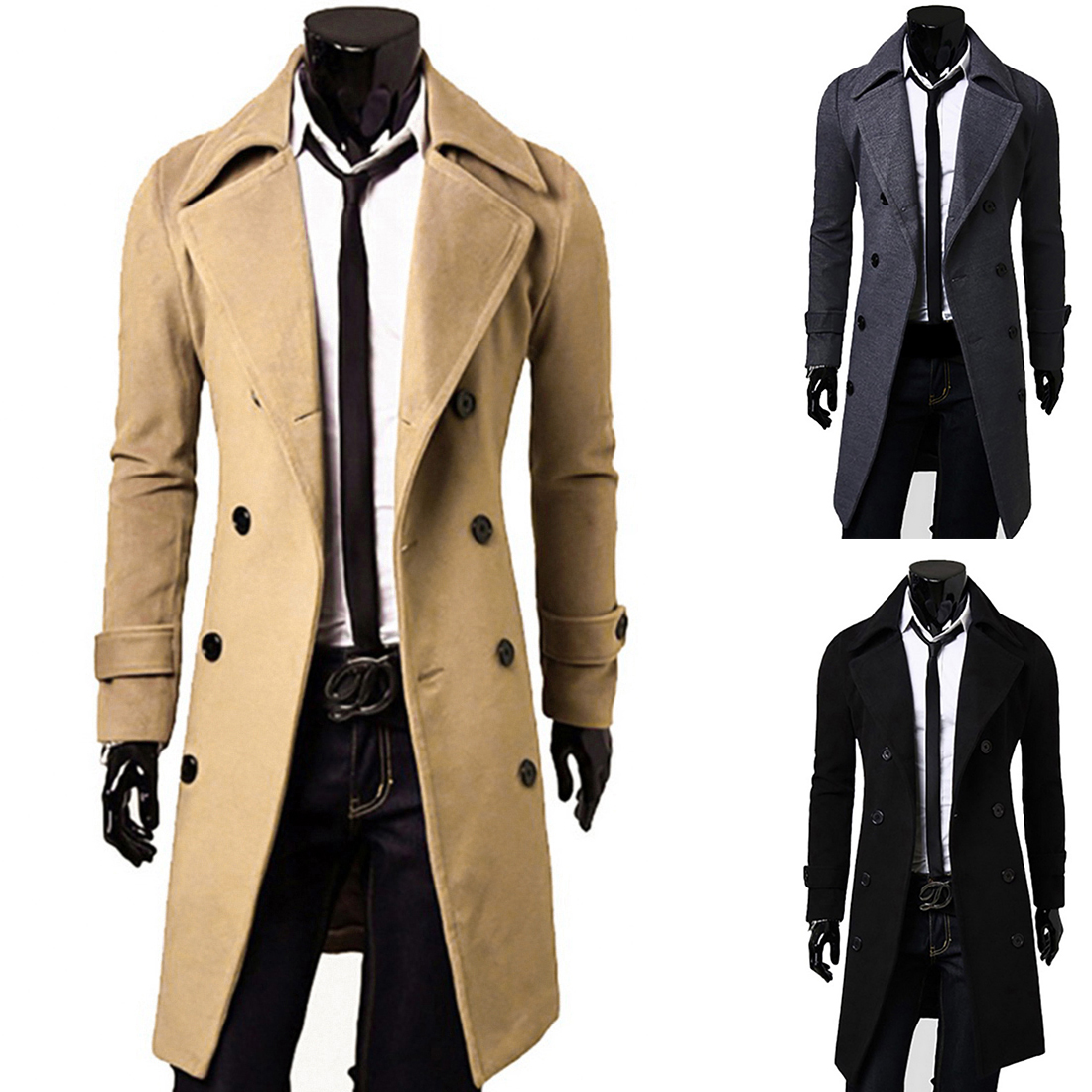 Fashion Men Warm Trench Coat Winter Long Jacket Stylish Double Breasted Peacoat Windproof Slim Men's Coat Overcoat Outwear Parka
