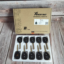 10pcs/Lot Xhorse XKTO05EN Wired Universal Remote Key for Toyota Style Flat 2 Buttons for VVDI2 VVDI Key Tool English Version(China)