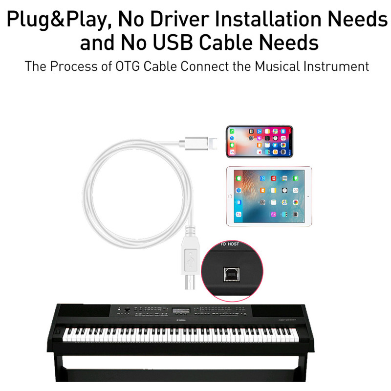 OTG Cable For IPhone To MIDI USB Type B Instrument Keyboard Adapter For IPhone X XS MAX XR 8 7 6 Electric Piano Audio Connector