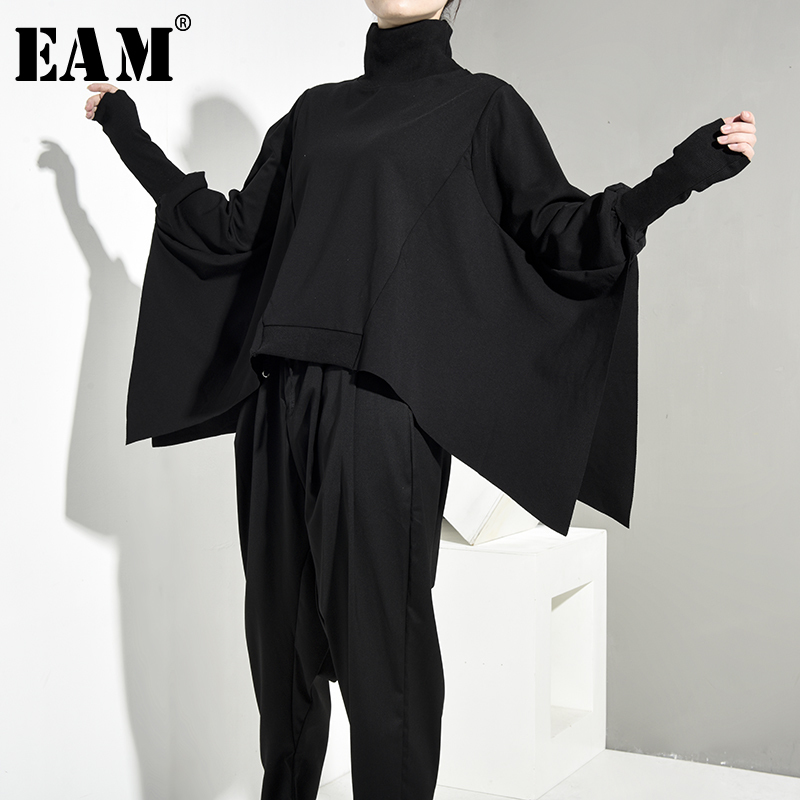 [EAM] Loose Fit Black Oversize Back Long Sweatshirt New High Collar Long Sleeve Women Big Size Fashion Autumn Winter 2019 OA8690