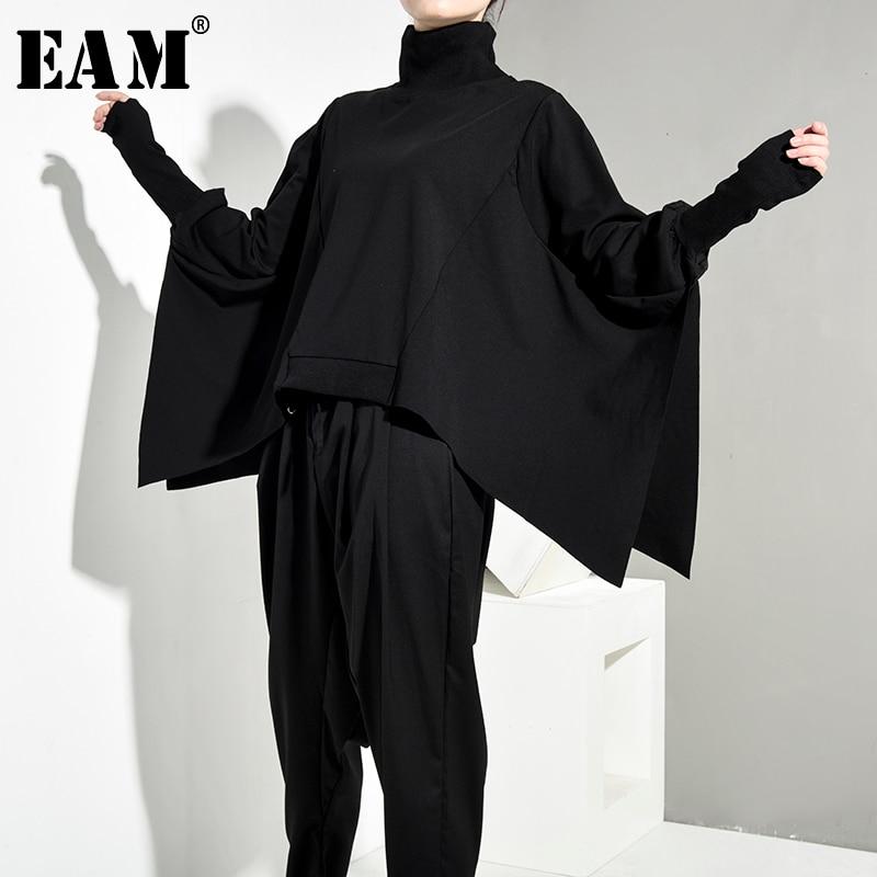 [EAM] Loose Fit Black Oversize Back Long Sweatshirt New High Collar Long Sleeve Women Big Size Fashion Spring Autumn 2020 OA8690