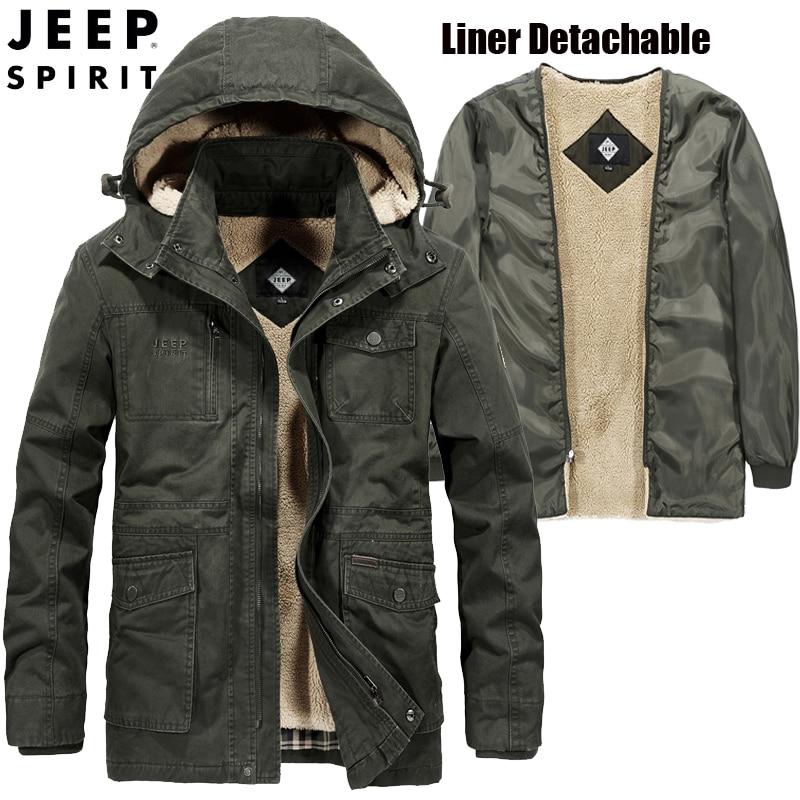 JEEP SPIRIT Brand Winter Jacket Men Hooded Collar Thick Warm Wool Liner   Parka   Men Hat&Liner Removable   Parka   Hombre