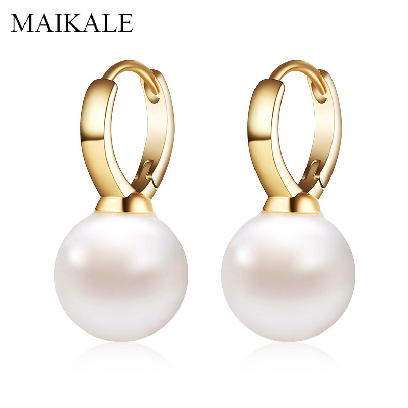 MAIKALE Pearl Earrings Jewelry Gold-Silver-Color Women Simple Gift with for Classic Champagne