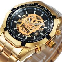勝者公式自動ゴールド腕時計鋼ストラップスケルトン機械スカル腕時計トップブランドの高級ドロップシッピング卸売