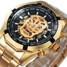 Vencedor oficial relógio de ouro automático men aço cinta esqueleto crânio mecânico relógios marca superior luxo dropshipping atacado