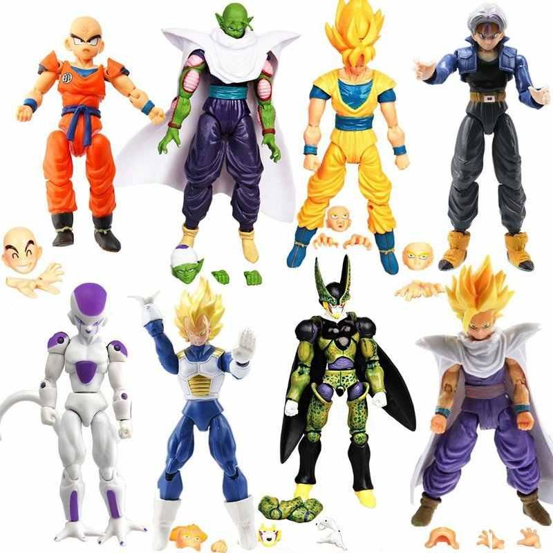 8PCS Mais Novo Super Saiyan Goku Vegeta Vegetto Troncos de Dragon Ball Z Ação PVC Figuras Coleção Modelo Brinquedos Bonecas estatueta