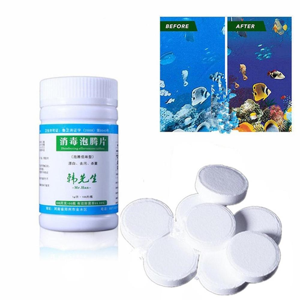 100 Tablets Disinfection Pills Chlorine tablets Instant Effervescent Pipes Swimming Pool Cleaning Water Home Use Disinfection