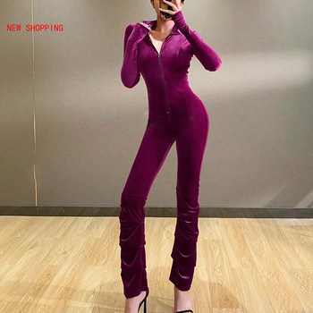 2021 Autumn Winter Rompers Women Sexy Jumpsuits Purple Casual Velvet Long Sleeve Solid  Zipper Slim Bodycon Female Jumpsuits New 2020 autumn winter casual jumpsuits women rompers solid sexy long sleeve o neck bodysuit bodycon rompers women bodysuits romper