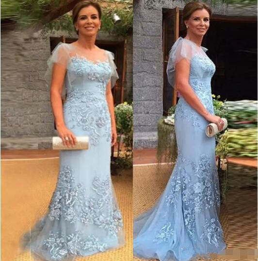2020 Mother Of The Bride Dresses Cap Sleeves Mermaid Lace Appliques Sky Blue Plus Party Formal Evening Gown Vestido De Madrinha