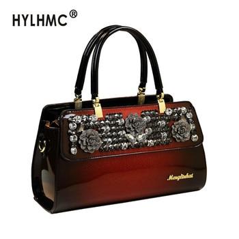 Luxury Fashion Diamond Women's Handbag genuine leather female shoulder messenger bag new rhinestone ladies party evening bags