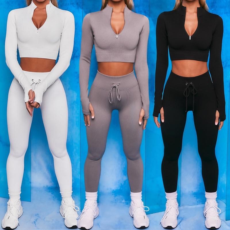 2PCS Seamless Yoga Set Sexy Zipper Long Sleeve Drawstring High Waist Leggings Workout Clothes For Women Sportwear Women Set 1