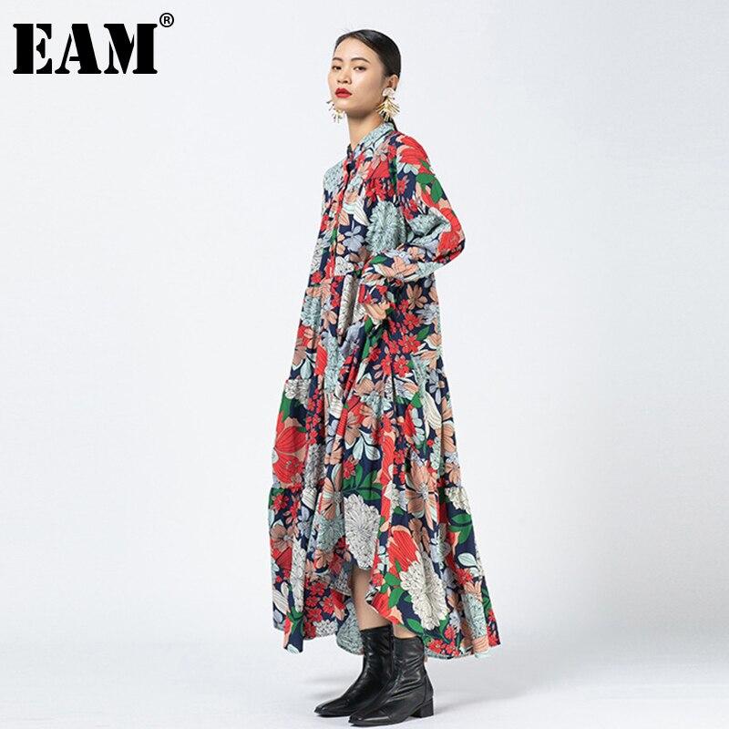 EAM – robe longue à motifs imprimés pour femmes, grande taille, col montant, manches longues, coupe ample, mode printemps automne 2021, 1DD0261