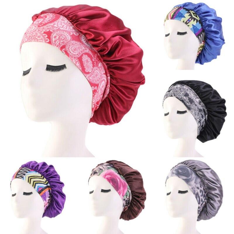 New Fashion Soft Silk Hair Bonnet Printed Unisex Satin Cap Bonnet Hair Care Caps Satin Femme Lady Cap Hat For Elastic Band Bath