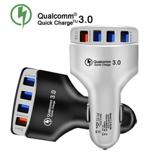 4usb 3A Car Charger For Mobile Phone Tablets Car-Charger QC 3.0 USB GPS Fireproof Fast Adapter