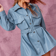 Luxury Faux Leather Women Blouse Shirt w
