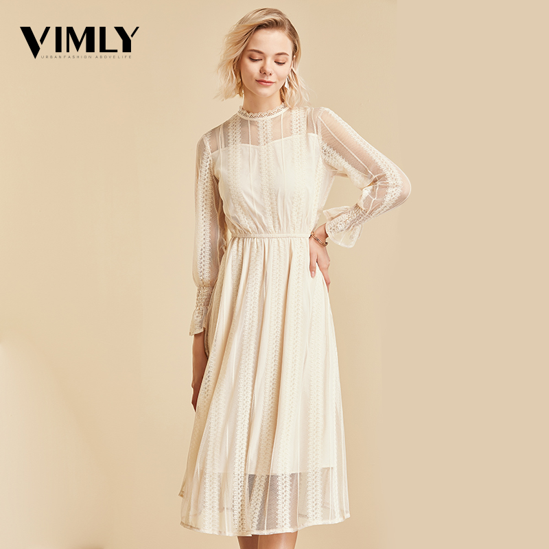Vimly Elegant Mesh Lace Embroider Women Dress Stand-Neck Flare Sleeve Party Dresses Sexy Midi Elastic Waist Hollow Out Dress 3