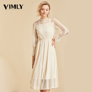 Image 4 - Vimly Elegant Mesh Lace Embroider Women Dress Stand Neck Flare Sleeve Party Dresses Sexy Midi Elastic Waist Hollow Out Dress