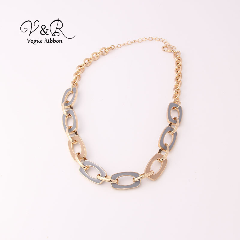 Two Tone Enamel  Penent Multiple Sized Link Chain N Necklace (7)