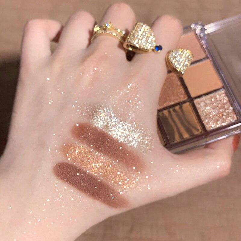 DIKALU 9 Color Eyeshadow Palette Glitter Pearlescent Matte Acrylic Transparent Eyeshadow Palette Lasting Make Up Set