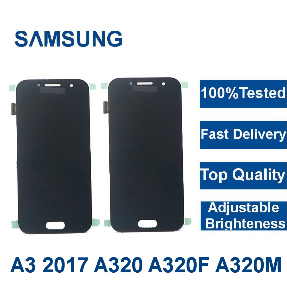 100%Tested <font><b>LCD</b></font> For <font><b>Samsung</b></font> Galaxy A3 2017 <font><b>A320</b></font> A320F Phone <font><b>LCD</b></font> Display Touch Screen Digitizer Assembly with adjust brightness image