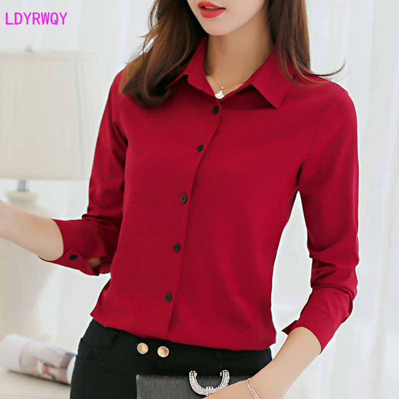 2020 spring and summer new Korean women's fit body wild base fashion lapel single-breasted long-sleeved casual chiffon shirt