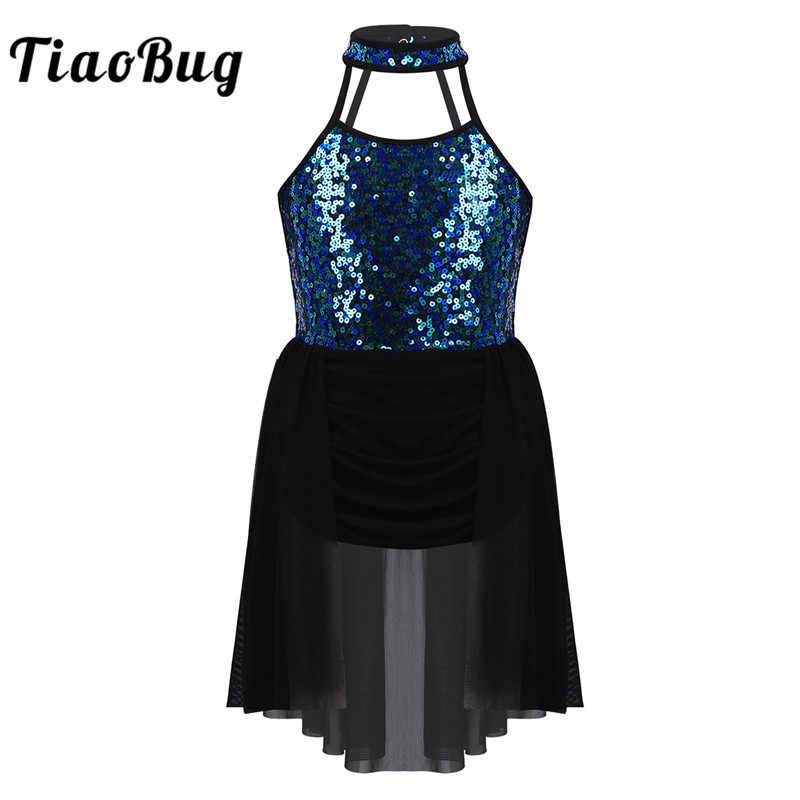 TiaoBug Kids Girls Sequins Gymnastics Leotard Lyrical Modern Contemporary Ballet Dance Dress Costume