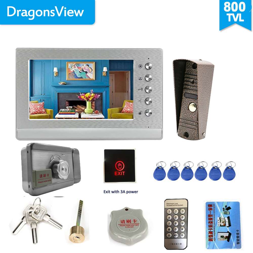 Dragonsview 7 Inch Video Intercom With Lock Video Door Phone Doorbell Camera Exit Unlock Button Day Night Vision Waterproof