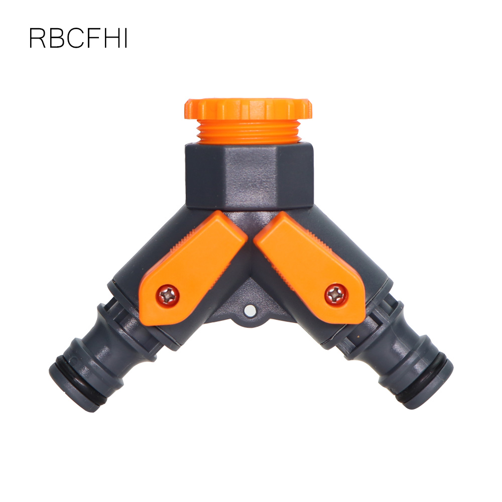 RBCFHl <font><b>1/2</b></font>''3/4'' Female Thread to 16mm <font><b>Quick</b></font> <font><b>Connectors</b></font> 2-Ways Garden Hose Water Splitters Adjustable Split Taps Valve Tool image