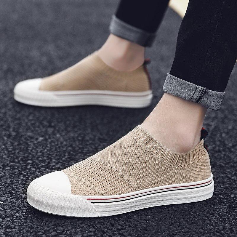 Dawdler One Pedal Fly Weaving Shoe England Wind Summer New Pattern Skate Shoes Male Korean Leisure Time Ventilation Net Shoe