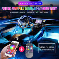 NEW Led Ambient Light RGB 8m 1 in 14 Car Interior Atmosphere Lamp Remote APP 12V Auto Decorative Dashboard Foot Door Mood Lights