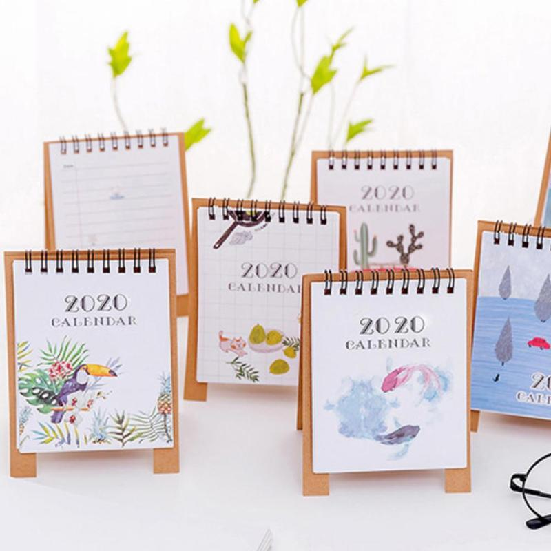 1piece 2020 Simple Small Fresh Calendar Cartoon Mini Calendar Planner Calendar Desktop Desktop Organizer Paper Agenda Paper O6Q8