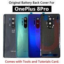 Novo original voltar tampa da bateria porta de vidro traseiro para oneplus 8 pro bateria capa habitação caso com lente da câmera para oneplus 8