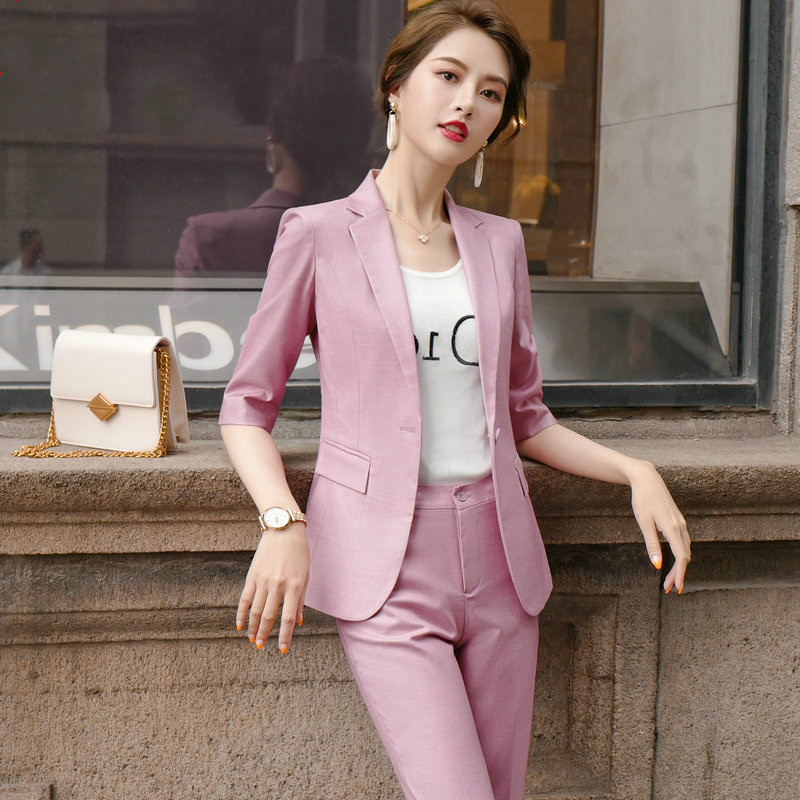 New Women's Suits For Spring And Summer 2020 Stylish Temperament Slim Ladies Blazer Jacket Feminine Casual Cropped Pants